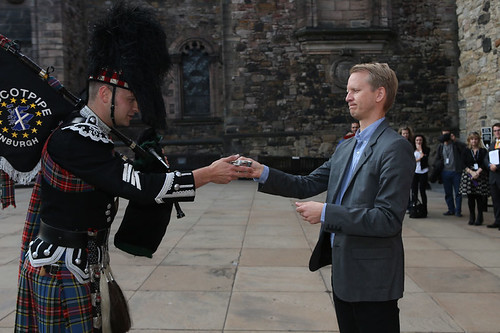 Fredrik Edfeldt, director of Sanctuary, accepting the Quaich on behalf of this year's international guest