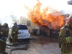 Lawndale IC JLA 8217 Jan 2 2012 (Photographic Reflections by Jon Androwski) Tags: fire 21 smoke garage flames engine firefighter fully involved 160 hoseline lacofd