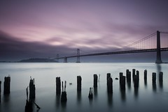 Baybridge (Neuronico) Tags: sanfrancisco longexposure water night sunrise goldengate baybridge embarcadero ferrybuilding pwpartlycloudy