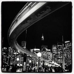 Mono (Monochrome Visions) Tags: monochrome square mono sydney australia darlingharbour monorail curve iphone 2013 monochromevisions instagram douwedijkstra