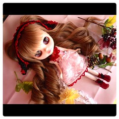 blythe doll,crochet lace head dress & dress
