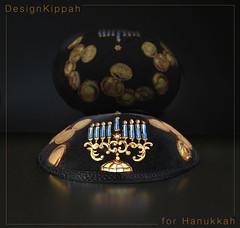 Kippah for Hanukkah (DesignKippah) Tags: light holiday festival jewish yarmulke hanukkah kippah hanukkiah