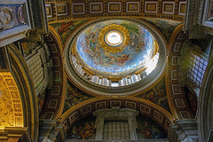 Ornate St. Peter's Domed Ceiling (Explored 11/9/13) (nydavid1234) Tags: travel italy stpeters rome tourism church architecture europe cathedral interior basilica landmark dome ornate saintpeters vaticancity saintpetersbasilica d600nydavid1234