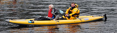 Andy Johnston of Veolia (front) partners up with Rob Haining of The Scottish Farmer on the kayak leg. Photo courtesy of Karen Carruth, The Scottish Farmer