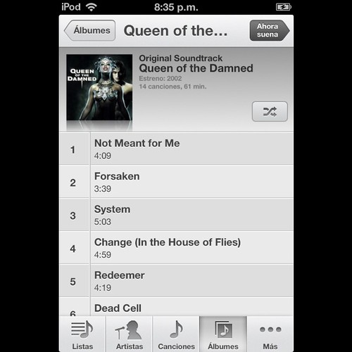 Queen of the Damned OST #queenofthedamnedost #queenofthedamned #ost #movie #goodmusic #goodmovie #vampire #lestat #myipod #myitunes #itunes #ipod #overnight