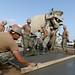 Seabees pour concrete at Camp Lemonnier.
