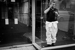 Man-A-Kin (Leanne Boulton) Tags: life road street door city portrait people urban blackandwhite bw white man black reflection mannequin window glass monochrome car shop standing work canon reflections mono scotland blackwhite store glasgow candid working pedestrian scene doorway human area vehicle worker van builder fitter