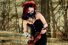 The Apocalypse in D Minor: 5th Movement (Stockholm Romance Photography) Tags: winter snow cemetery fire apocalypse violin classical gasmask postapocalyptic
