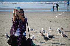 Candid Beach Selfie (ZenzenOK) Tags: seagulls beach asian dof sandiego candid january lajolla stranger tourist beachbirds selfie 2014 d80 zenzenok