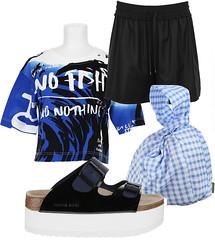 Футболка Kenzo, шорты Alexander Wang, сумка-узелок Carven, сандалии Sacai Luck x Tatami