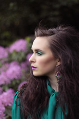 IMG_5857LR (Ellexxx) Tags: flowers red eye floral girl face leaves shirt fairytale canon pose garden hair model woods long pretty dress purple lace silk makeup lips lipstick wonderland wavy bold mua 50d ellexxx eleanorjayakoddy