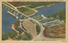 Aerial View of the Approach to Grand River Dam, Northeastern Oklahoma (The Cardboard America Archives) Tags: oklahoma vintage river dam postcard aerialview