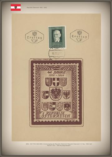 MiNr. 1057 FDC 5623 M40. Gründungstag der Republik Österreich Republik Österreich 12. Nov. 1958. Karl Renner 1870 - 1950 Bundespräsident