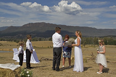 Great day for it..... (_davidh_) Tags: canoneos7d canon2470l cathedralranges wedding victoria australia taggerty 2017 march bride groom outdoorwedding sky mountain blue cloud