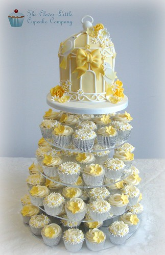 Lemon Birdcage Wedding Tower