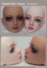 Delilah Noir vs. Narae (Invie Aesthetics) Tags: ns 14 vinyl bjd comparison commission tanned msd faceup narae bimong delilahnoir