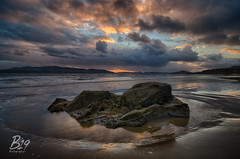 Stragill Beach Sunset (Barca_19) Tags: blue ireland sunset orange beach landscape rocks waves donegal stragill d7000