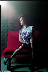 Christina K (VKMUSTBEDESTROYED) Tags: fashion female studio glamour feminine tights glam glamor redcouch hairflip vk3photographix
