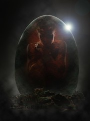 Hatchling (No Title) (The Infamous Blue Tie) Tags: new fiction alien egg science aliens human scifi breed invasion hatchling halfbreed