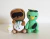 Tanuki & Kappa (Ohioja.) Tags: brown green japanese handmade crochet folklore tanuki amigurumi kappa amigurumianimals amigurumikappa amigurumiyoukai