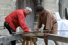 Builders in the Cathedral - Bayeux Medieval Festival (dorsetbays) Tags: bayeux france normandy calvados bayeuxmedievalfestival 27thbayeuxmedievalfestival festival medieval fetesmedievalesbayeux 27efetesmedievalesbayeux medievales fete 2013 7juillet2013 6juillet2013 juillet july music musique dance danse event fair costumestonemason carver stonemason stonecarver pierre craft atelier workman builder cathedral carving carpenter artisan charpente craftsman