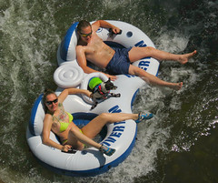 Floating Family (Colorado Sands) Tags: summer people usa pets tattoo america creek river fun us colorado floating familydog summertime recreation tubing activities bathingsuits tatuaje tats rivertubing clearcreek jeffersoncounty swimmingsuits sandraleidholdt riverfloating leidholdt