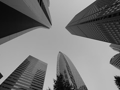 Reaching for the Sky (debisuke) Tags: bw monochrome japan architecture buildings lumix tokyo shinjuku skyscrapers panasonic      m43  gx1 714mmf4