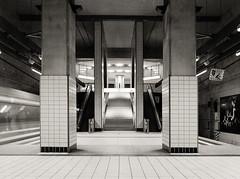 urban / 4 (philipp_fischer) Tags: street urban film geometric station vertical analog mediumformat subway blackwhite frankfurt schwarzweiss ilford mamiya645 bockenheim mittelformat shiftlens secorc