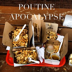 This is how we do it in @neontario. Larry's + The Riv = Poutine Apocalypse. #motosansfrontieres