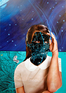 LARRY CARLSON, She is No More in the Stars, collage on paper, 12x10in., 2013