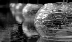 """""""The world is a looking glass and gives back to every man the reflection of his own face"""" (...Sathiya) Tags: bw white black reflection water glass see design open quote top bowl row line through arrange"""