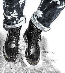 Splash. Dr Martens Drench. (CWhatPhotos) Tags: pictures black men water leather yellow canon that lens photography boot eos foto view hole image boots artistic zoom pics picture tie 8 pic images have jeans photographs photograph fotos 7d wellington mens his stitching 100 splash sole doc marten which soles dm 1740mm dyed contain waterproof drmartens bouncing airwair docmartens martens dms drench bouncingsoles cwhatphotos lsereies