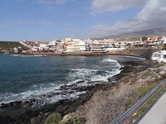 La Caleta (traveling peter) Tags: africa blue sky brown white water clouds stairs buildings outdoors restaurant bay spain rocks whitewater europe surf village hill bluewater bluesky shore tenerife canaries canaryislands slope lacaleta wateraccess