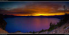 Sunset at Crater Lake (lsten) Tags: blue sunset panorama usa sun water colors oregon iso100 nationalpark rocks colorful view unitedstates dusk unitedstatesofamerica wideangle cliffs stunning craterlake bluehour wilderness stitched canonef1740mmf4lusm hdr gravel craterlakenationalpark 30mm natureview northwestusa canon5dmarkii vision:sunset=0985 vision:sky=099 vision:outdoor=0947 vision:clouds=0989