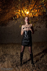 femdom 01 (CE Photogenetix) Tags: trees light woman tree sexy beauty leather fashion female night fetish dark fire dom femme domination vinyl sm fem corset ponytail select femdom dominatrix canon40d christinaedwards