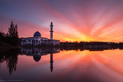 Uniten Mosque (Thanwan Singh) Tags: new morning blue light red orange sun white reflection water architecture clouds sunrise dark nice structure formation malaysia latest putrajaya rise kajang malay islamic bangi wilayah th