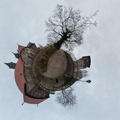 Unterhalb des Tatarenturm (diwan) Tags: trees canon germany geotagged roundabout cobblestones explore magdeburg planet bäume 2014 ptgui kopfsteinpflaster equirectangular magdeburgerdom behindthecathedral kiekindeköken geo:lon=11635904 geo:lat=52123934