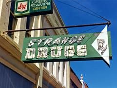 """Drugstore """"Strange Drugs"""" Sign, Dublin, Georgia, 1988 (StevenM_61) Tags: dublin sign architecture georgia 1988 pharmacy signage neonsign drugstore commercialbuilding explored"""
