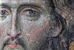 Christ's face (close), Deësis mosaic, Hagia Sophia