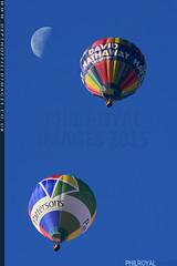 Double Balloon Moon (zoomerphil) Tags: blue sky moon hot colour bristol fly high rainbow colours fiesta branded air balloon flight serene float drift