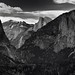 A Focused View of Mountainsides and a Valley in Between (Black & White)