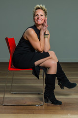 Debbie (TheEvilDonut Photography) Tags: studio portrait indoors woman beautiful shorthair blonde thin blackdress