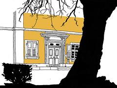 Notary, Bretten, Baden_February 2017 (stevefaradaysketches) Tags: baroque classical notary bretten baden urbansketch inksketch door entrance tree
