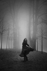 By The Wishing Gate (Maren Klemp) Tags: fineartphotography fineartphotographer blackandwhite monochrome outdoors fog nature selfportrait portrait woman ethereal dress movement painterly evocative dreamy naturallight conceptual darkart darkartphotography expressive symbolic