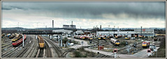 Time for a sharp exit.... (david.hayes77) Tags: toton stapleford nottinghamshire totondieseldepot dbschenker dbs ews class60 tug 2017 shower rain squall class66 shed panorama pano a52 briancloughway ratcliffeonsoarpowerstation wnxx stored colas sonydscrx100m3 16a totonyard marshallingyard