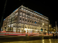 Hotel Grande Bretagne (Tassos Giannouris) Tags: hotel grande bretagne athens lights night long road cars traffic city greece syntagma nightscape