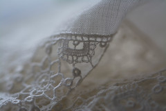 Linen and Lace (Captured Heart) Tags: clothtextile macromondays linen lace linenandlace crochet delicate feminine vintage handmade cloth textile handkerchief