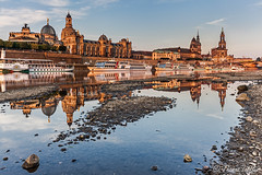 morning at the river (funtor) Tags: city dresden germany light morning sunrise colors reflection architecture buildings river