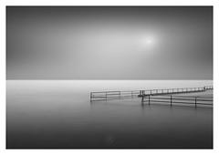 Mind the Gap (picturedevon.co.uk) Tags: shoalstone brixham torbay englishriviera devon england uk fineart seascape le longexposure bw bnw blackandwhite mono water sky sun minimal pool lido outdoors coastal seaside grey