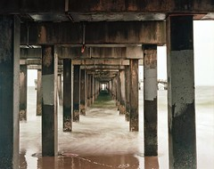 Under the Boardwalk (Z A N) Tags: ocean beach water mediumformat coneyisland spring rainyday kodak 120film damage boardwalk analogue ektar 100iso filmphotography pentax6x7 colorfilm
